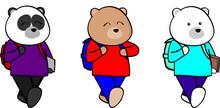 School Kid Animals Cartoon Collection In Vector Format