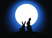 Nature Landscape Design On Two Rabbits Sitting Under A Full Moon