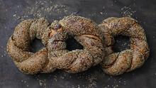 Fresh Turkish Street Food Simit. Traditional Turkish Bagels.