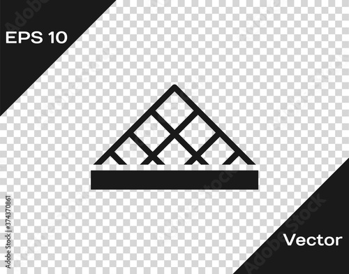 Black Louvre glass pyramid icon isolated on transparent background Fototapet