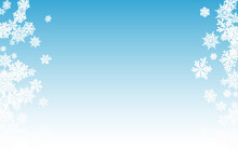 Silver Snowfall Panoramic Vector Blue Background.