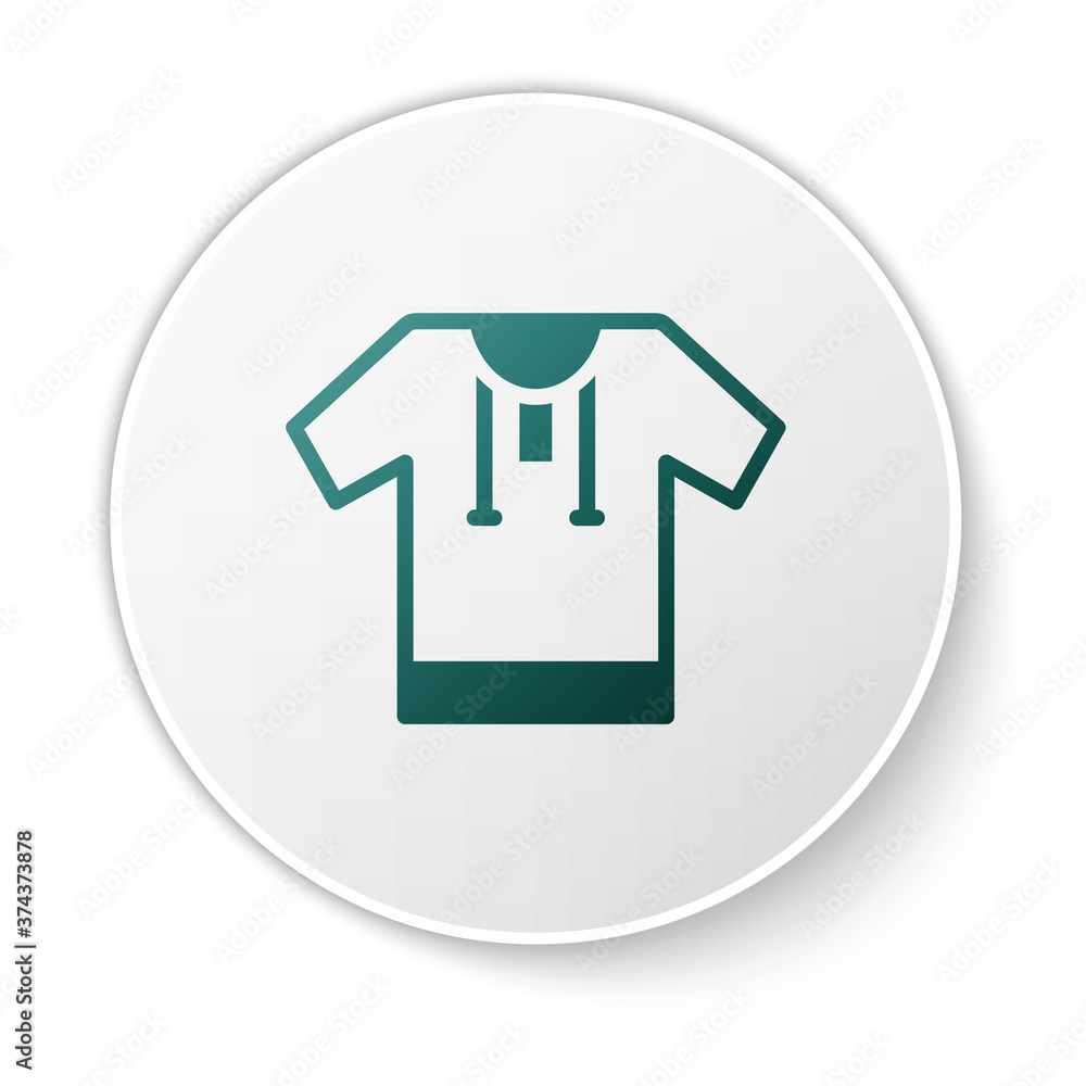 Green Embroidered shirt icon isolated on white background. National ukrainian clothing. White circle button. Vector.