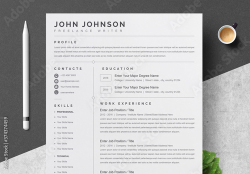 Fototapeta Minimalist Creative Resume and Cover Letter Layout