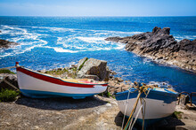 Fishing Boats At The Rocky Coast Of Brittany, France