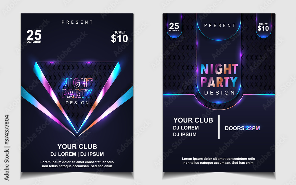 Fototapeta Night dance party electro and music cover design template background with elegant style neon color. Colorful light style vector for concert disco, club party, event flyer invitation, festival poster