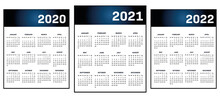 English Modern Classic Calendar 2020-2021-2022 Vector