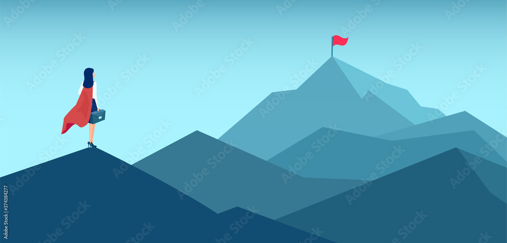 Fototapeta Vector of a super woman looking at her goal, mountain with flag on the top