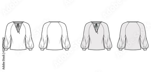 Tie-detailed neckline blouse technical fashion illustration with long raglan bishop sleeves, oversized, elongated hem Canvas Print