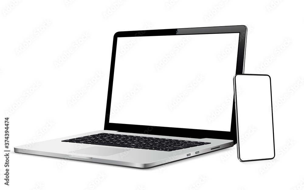 Fototapeta Modern smart phone and laptop with blank touch screen