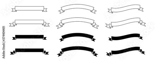 Canvastavla set of black and white ribbons