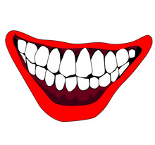 Evil Clown / Creepy Clown Or Horror Clown, Clown Horror Smiley Face. Clown Mouth, Joker Smile For Hallowen. Horror Creepy Smile Illustration.