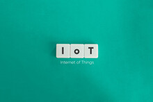 Internet Of Things Banner. Block Letters On Bright Blue Green  Background. Minimal Aesthetics.