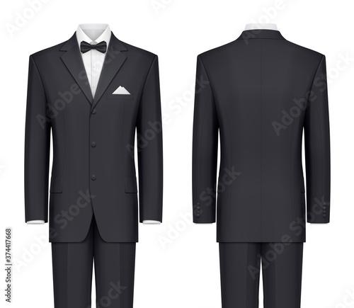 Fotografie, Obraz Black suit with bow tie