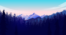 Forest And Mountain Vector Ill...