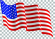 United States of America waving flag on transparent background. Vector illustration.