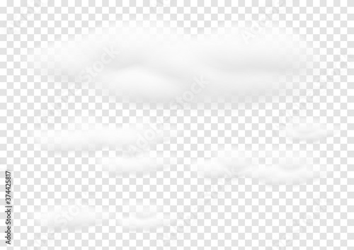 Fototapeta Realistic white cloud vectors isolated on transparency background, cotton wool e