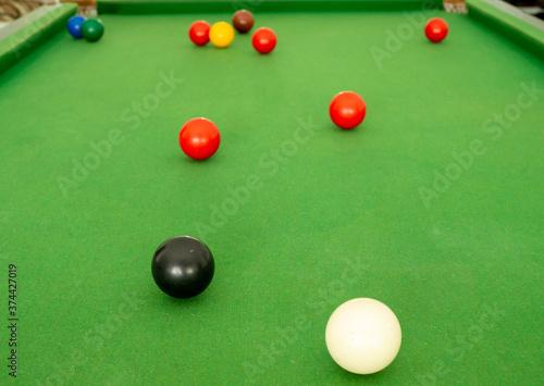 Snooker ball On the green snooker table. Wallpaper Mural