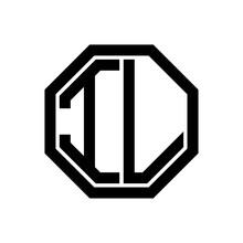 IL Initial Monogram Logo, Octagon Shape, Black Color