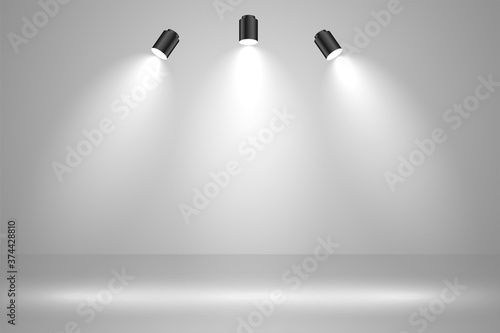 Fotografia realistic studio lights empty background design