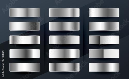 Fotografía silver chrome platinum or aluminium metallic gradients set