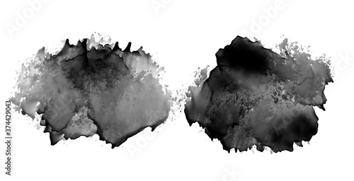 Canvastavla black ink stain watercolor texture design set of two