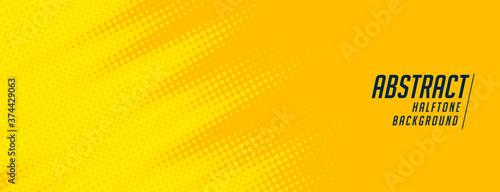 Fototapeta abstract yellow halftone wide elegant banner design obraz