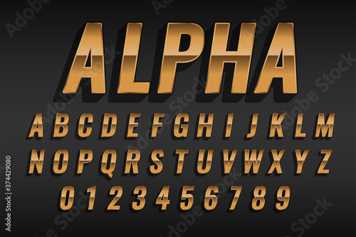 Fotografiet luxury golden text style effect with alphabets and numbers