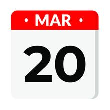 20 March Calendar Icon
