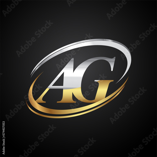 initial letter AG logotype company name colored gold and silver swoosh design Canvas Print