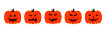 Vector Illustration Set Of Halloween Pumpkins, Scary And Funny Pumpkin Faces, Vector Jack O Lantern Facial Expressions Characters.