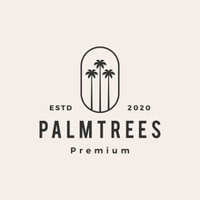 Palm Tree Hipster Vintage Logo Vector Icon Illustration