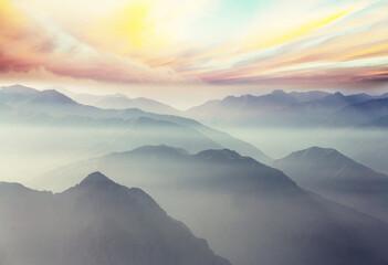 Fototapeta Vintage Mountains silhouette