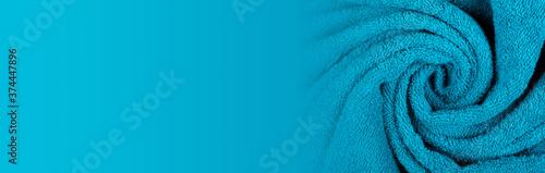 Blue towel fabric texture, top view photo, copy space background. Fototapeta