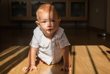 A Cute Little Boy Crawling Aro...