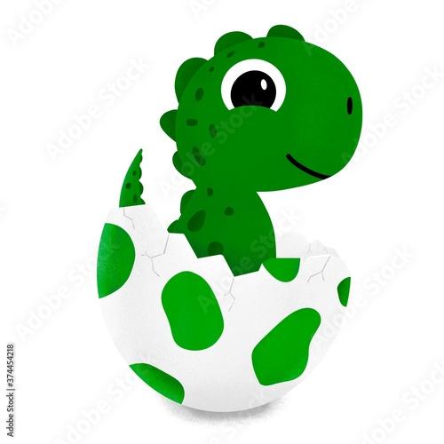 Grüner Baby Dino aus einem Ei geschlüpft Illustration