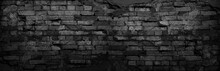 Black Grunge Background. Black Old Brick Wall. Dark Gray Stone Wall. Collapsing Brickwork. Weathered Stone Wall.