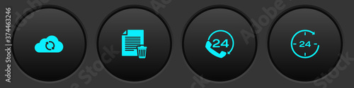 Obraz na plátne Set Cloud sync refresh, Delete file document, Telephone 24 hours support and Clock icon
