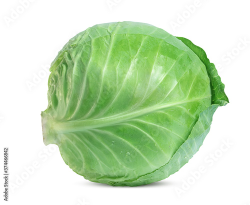 large fresh white cabbage on a white background Fotobehang