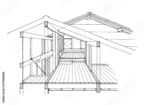 free-hand design perspective  フリーハンドの設計パース 屋根裏