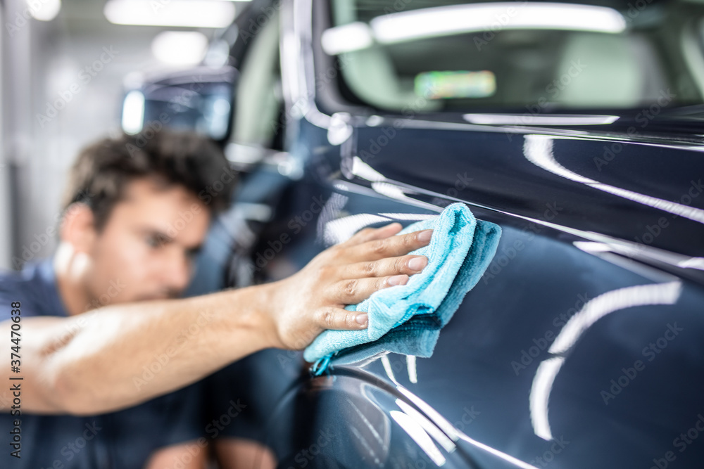 Fototapeta Car detailing concept. Auto cleaning and polish.
