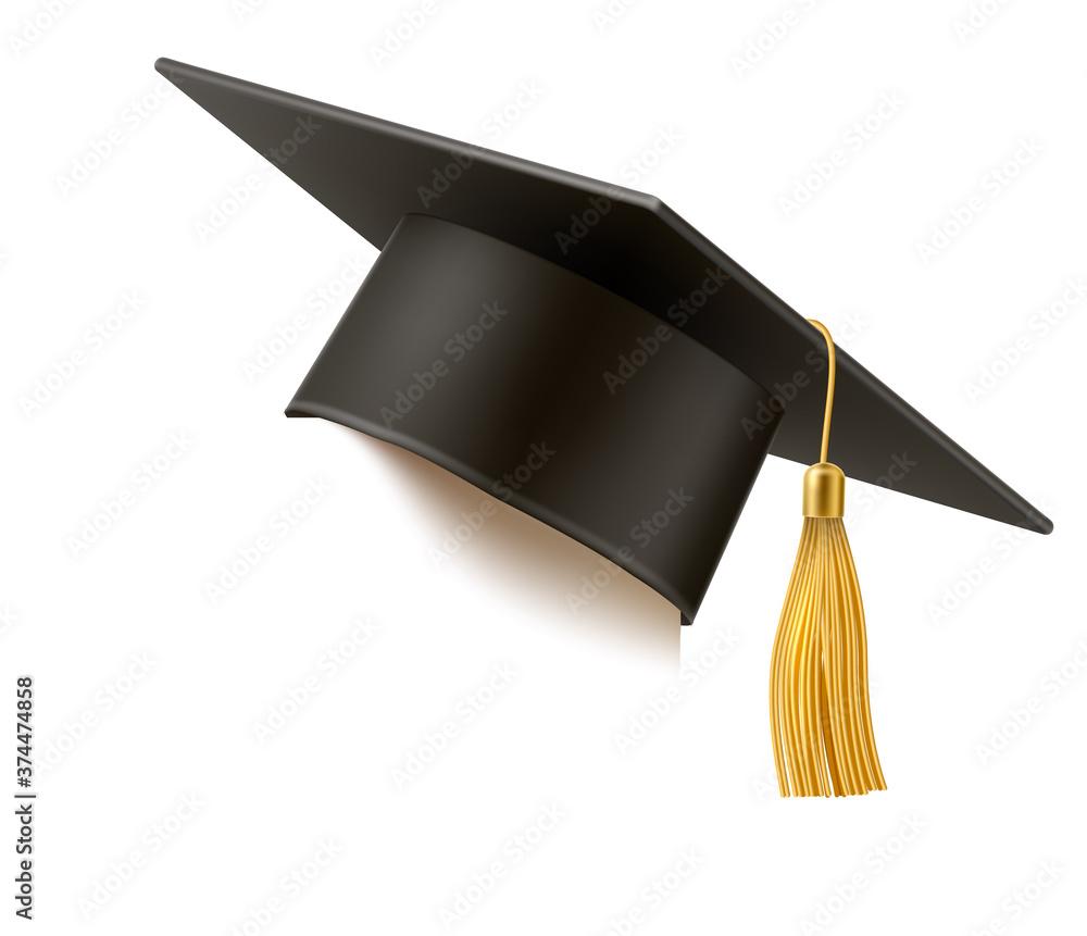 Fototapeta Vector realistic mortar board hat education hat