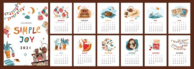 Wall vertical calendar for 2021, the week starts on Sunday. Template A4 format calendar set of month in the Scandinavian hand drawn flat style about the simple joys of life. Vector illustration.