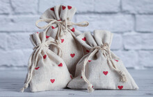 Textile Bags With Gifts. Red H...