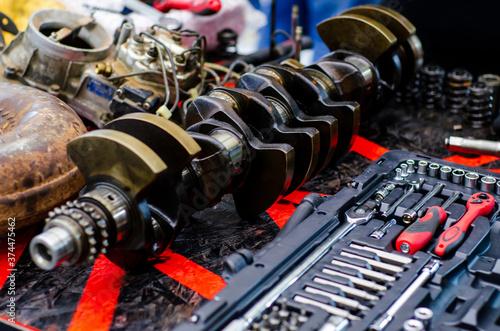 Disassemble engine block vehicle. Motor capital repair. Canvas