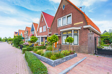 Old Streets In Volendam, Old Traditional Fishing Village, Typical Wooden Houses Architecture