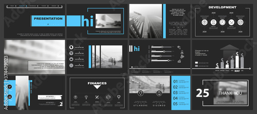 Fototapeta Business infographic presentation templates, blue and white elements on a black background. Use in flyers and SEO, marketing, webinar pages, website design, banners, annual report. Vector, teamwork obraz
