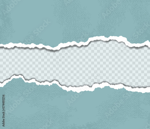 Vector illustration of blue torn paper edges Canvas