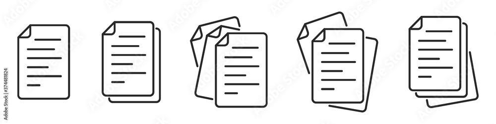 Fototapeta Paper documents icons. Linear File icons.