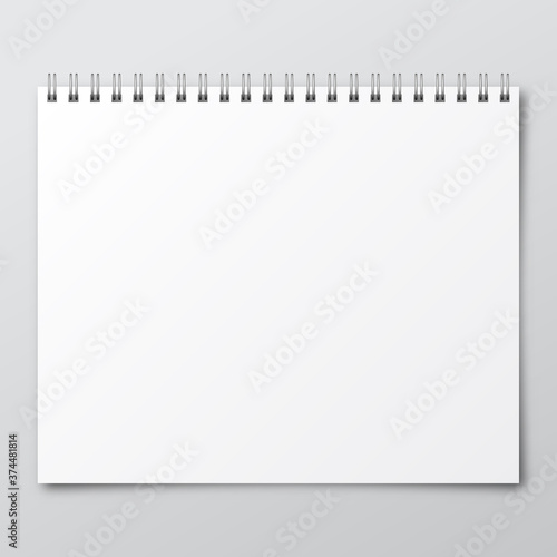 Fotomural Notebook. Mockup of paper notebook. Template of notebook