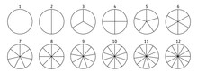 Divide Circle Diagram. Black Segment Element. Vector Round 12 Section